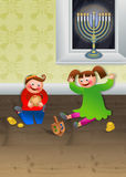 Children Celebrating Chanukah Stock Images