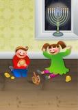 Children Celebrating Chanukah. Cartoon illustration of two young children celebrating the Jewish festival of hanukah Stock Images