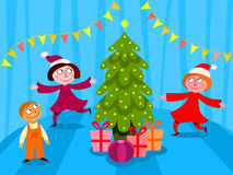 Children celebrating Christmas Stock Photo