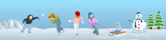 Children celebrating Christmas. Doing a number of outdoor activities in celebration of Christmas Stock Illustration