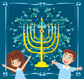 Children celebrating Hanukkah Royalty Free Stock Images