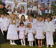 Children celebrating saint mary Royalty Free Stock Photo