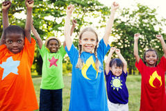 Children Celebration Friendship Happiness Cheerful Concept.  Stock Photo