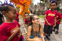Children during the celebration before Nyepi - Balinese Day of Silence. Stock Photography