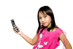 Children with cell phone stock images