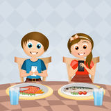 Children with cell phone at table. Illustration of children with cell phone at table Stock Image