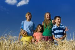 Children in cereal Stock Images