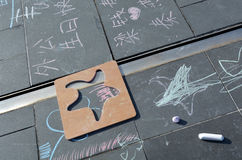 Children chalk drawing Stock Photography