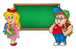 Children with chalkboard 1 Royalty Free Stock Photos