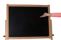Children with chalkboard child's hand as Cut. The table is empty. Isolated, Cut outs board Stock Photos