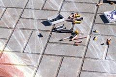 Children chalks Stock Images