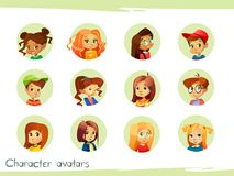 Children characters avatars vector illustration of cartoon boy and girl kids icons for for social network chat user stock illustration
