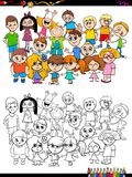 Children characters group coloring book Royalty Free Stock Image