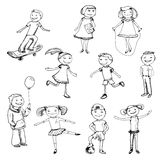 Children characters sketch Stock Photography