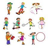 Children characters sketch colored Royalty Free Stock Image