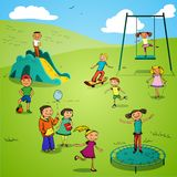 Children characters sketch colored Royalty Free Stock Images