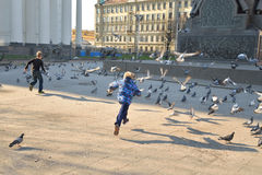 Children chase pigeons. ST.PETERSBURG, RUSSIA - 3 MAY 2016: Children chase pigeons in the town square in the center of St. Petersburg royalty free stock photos