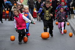 Children chasing pumpkins down Caroline Street during the annual pumpkin bowling celebration,October,2013,Saratoga Springs,New Yor Stock Photos