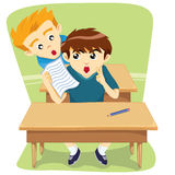 Children Cheating Task From Behind. Children cheat a friend from behind in school exams royalty free illustration