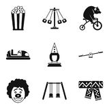 Children cheerfulness icons set, simple style. Children cheerfulness icons set. Simple set of 9 children cheerfulness vector icons for web isolated on white Stock Images