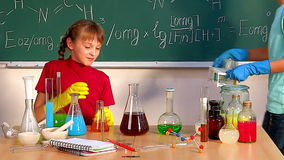 Children in chemistry class. stock video footage