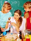 Children in chemistry class. Royalty Free Stock Photos
