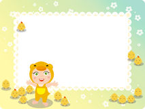 Children and chickens frame. Abstract  illustration of Children and chickens frame Royalty Free Stock Photography