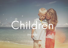 Children Child Childhood Kids Young Youth Concept. Children playing beach bubble happiness Royalty Free Stock Image