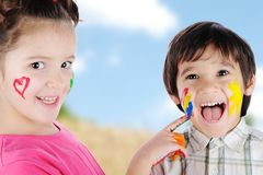 Children, childhood. With color on face Royalty Free Stock Images