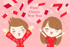 Children with chinese new year. On the pink background Stock Photo