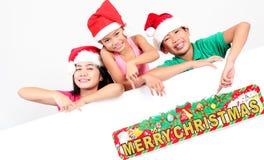 Children Chistmas powitania Zdjęcia Royalty Free