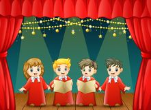 Children choir performing on the stage. Illustration of Children choir performing on the stage Royalty Free Stock Images