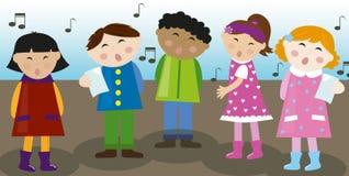 Children choir vector. Illustration of kids singing together like choir. Vector Royalty Free Stock Photos