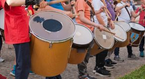 Children playing the drums royalty free stock photography