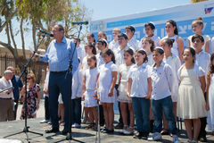 The children chorus prepares to sing. TEL AVIV - May 08: The children chorus of Kiryat Shmona prepares to sing after Mayor of Tel Aviv addressed people on Stock Photo