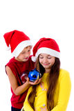 Children in christmas caps Stock Photo