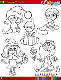 Children at christmas coloring page Royalty Free Stock Images