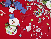 Children Christmas Craft Art Supplies and Material. Image of art material for making a snowman and other Christmas and seasonal crafts. Kids like to make Royalty Free Stock Photo