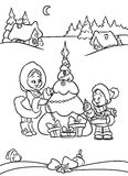 Children Christmas decoration Tree coloring page Royalty Free Stock Photo