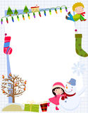 Children and Christmas Frame Royalty Free Stock Photo