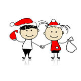 Children with christmas gifts. Illustration Royalty Free Stock Photography