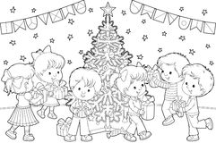 Children with Christmas gifts royalty free illustration