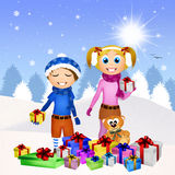 Children and Christmas gifts Stock Image