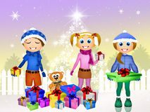 Children and Christmas gifts Royalty Free Stock Photo