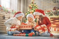 Children at Christmas Stock Images