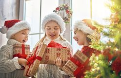 Children at Christmas Stock Image