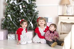 Children on Christmas Stock Images