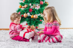 Children With Christmas present Stock Photo