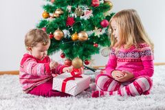 Children With Christmas present Stock Images