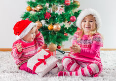 Children With Christmas present Royalty Free Stock Images